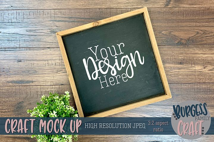 Square framed sign with plant Craft mock up |High Res JPEG