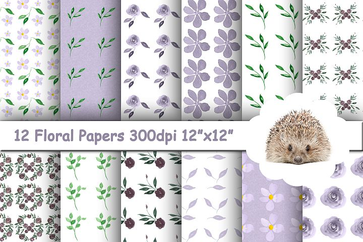 12 Seamless Purple Floral Patterns in Shades of Purple, Lilac and Green