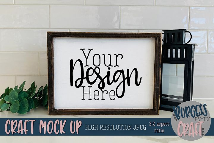 Rustic wood sign landscape Craft mock up |High Res JPEG