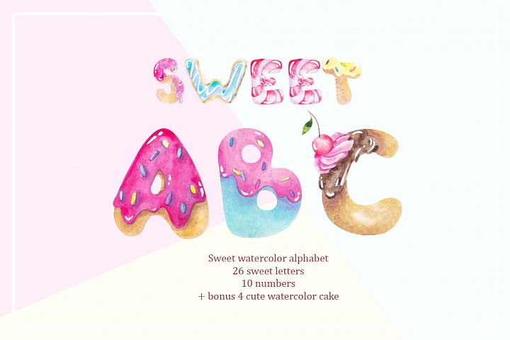 Sweet alphabet. Watercolor letter