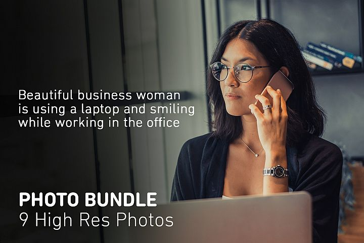 Stock Photo Bundle Business woman is using a laptop
