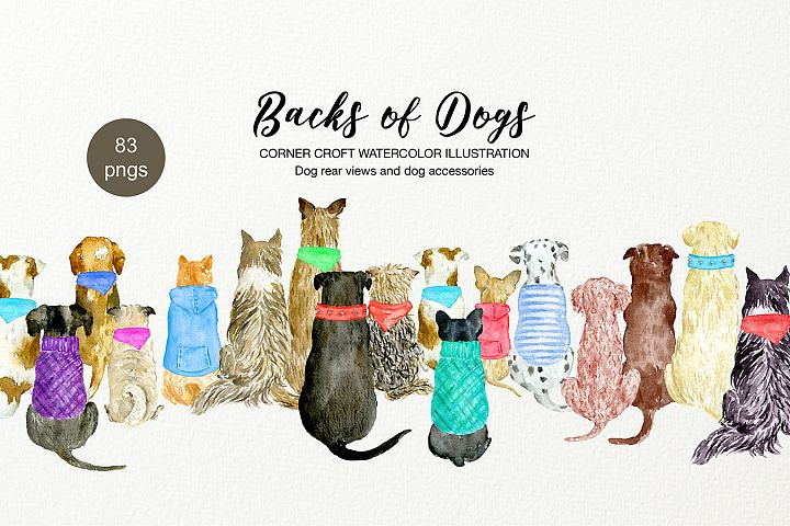 Backs of Dogs Clipart