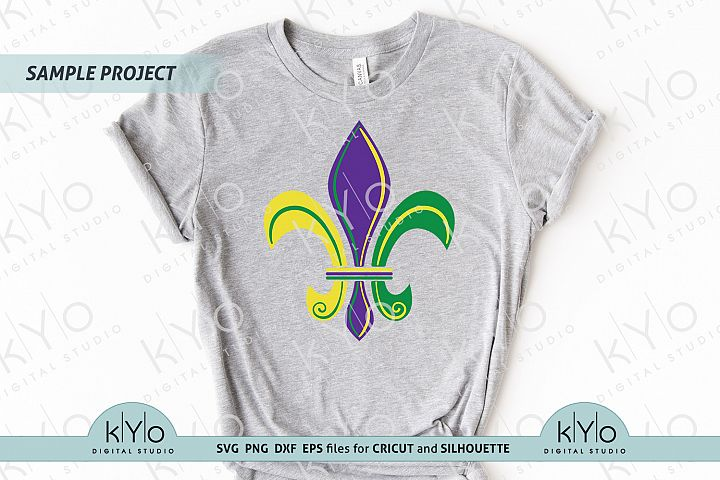 Mardi Gras Fleur de Lis Shirt Design SVG PNG DXF files