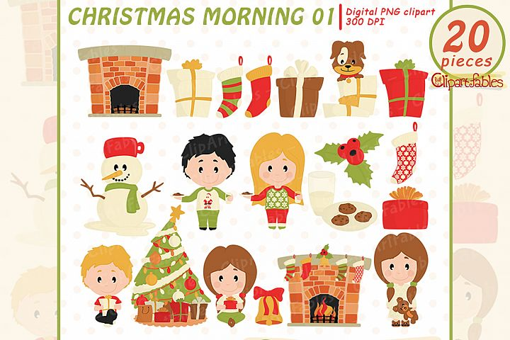 CHRISTMAS MORNING clipart, Children in christmas pajamas