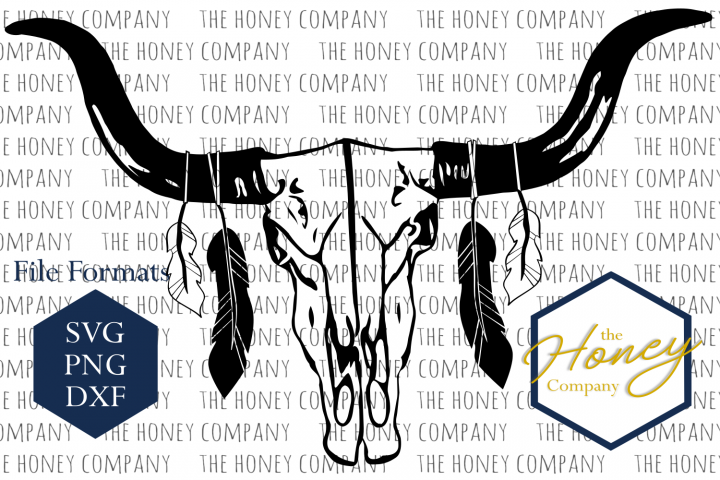 Cow Skull  SVG PNG DXF Feathers Boho Instant Download Silhouette Cricut Cut Files Cutting Machine Vector File