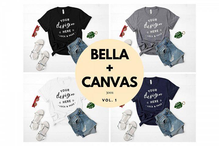 Mockup TShirt Bundle Bella Canvas 3001 T-Shirt Flat Lay