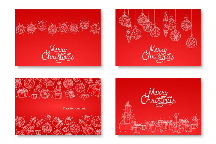 Christmas decorative hand drawn cards