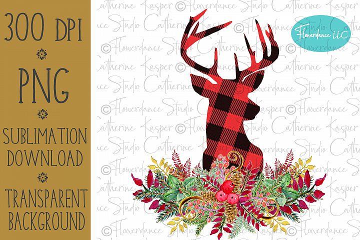 Buffalo Plaid Deer Head PNG Christmas Sublimation Design