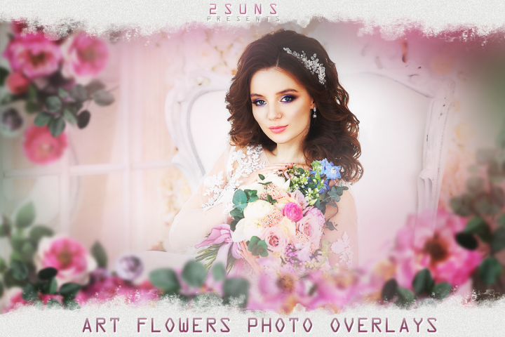 Art flowers overlays frame templates wedding