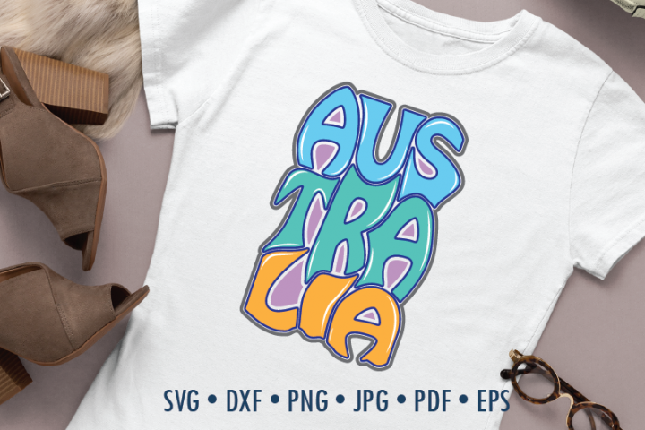 Australia Word Art, Svg Dxf Eps Png, Cut file, Typography