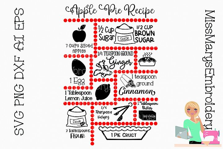 Apple Pie Recipe SVG Cut File