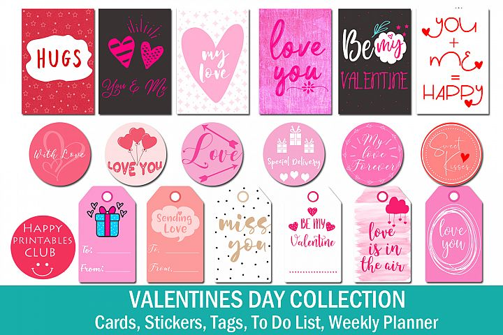 Valentines Day Collection- Cards/Stickers/Tags/Planner/To Do