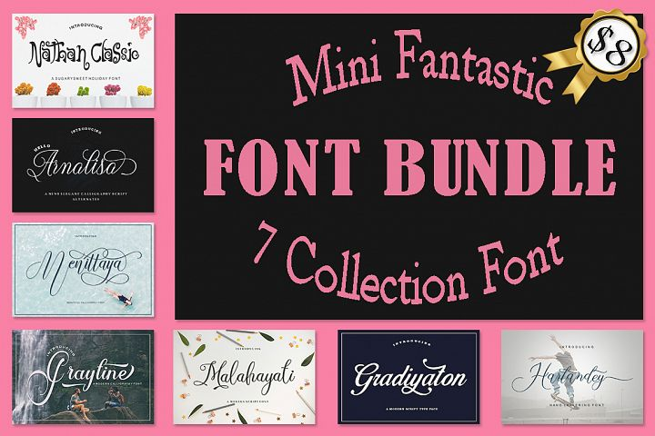 Mini Fantastic Font Bundle 7 Collection Font