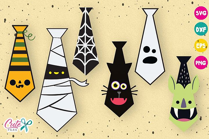 Halloween ties bundle, svg cutting files