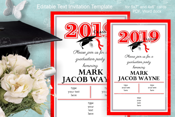 Invitation Template editable text - RED - Grade Party 2019