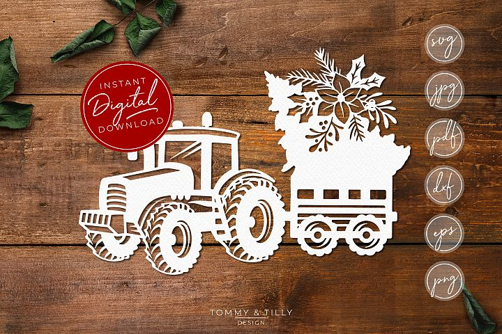 Christmas Tree Tractor No.2 - SVG EPS DXF PNG PDF JPG