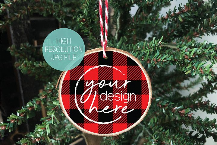 Red Lumberjack Plaid Round Wood Slice Ornament Mockup
