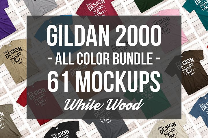 Gildan Mockup Bundle All Colors Mens Tshirt Mock Up Bundle