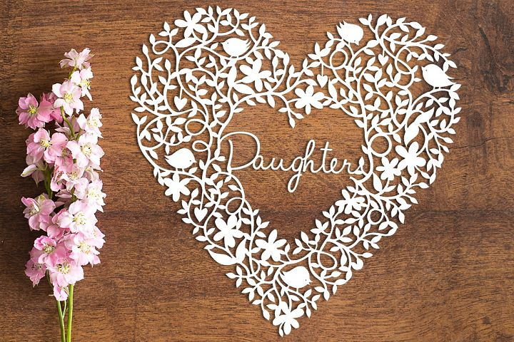 Daughter Heart - Paper Cutting Template