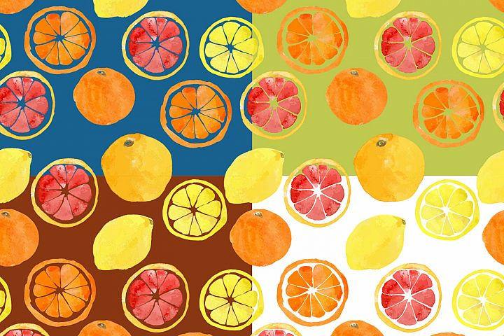 Watercolor vector citrus fruits example 7