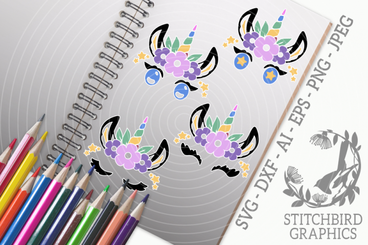 Unicorn Eyelashes 3 Bundle SVG, Silhouette Studio, Cricut