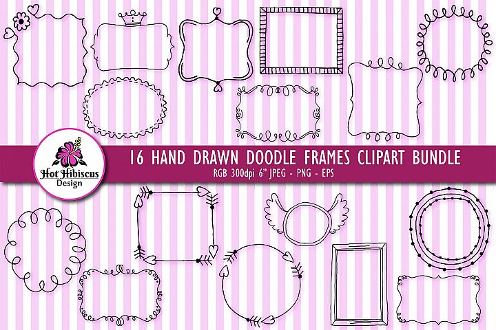 Hand Drawn Doodle Frames and Borders Clipart Bundle