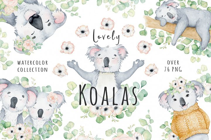 Lovely Koalas and Eucalyptus watercolor set