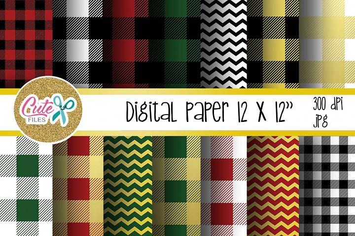 Buffalo plaid pattern, gold chevron digital paper