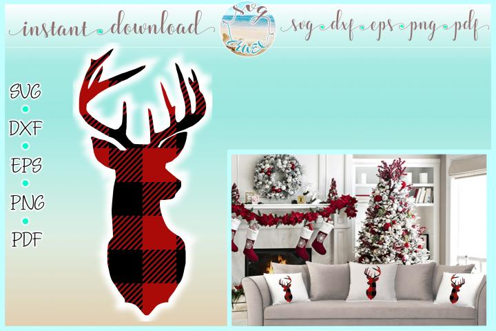 Deer Head Buffalo Plaid SVG Dxf Eps Png PDF files