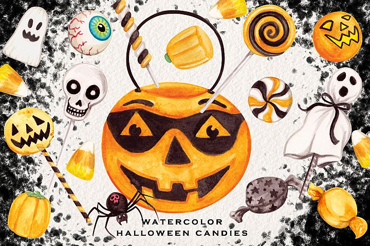 Watercolor Halloween Candies Clipart