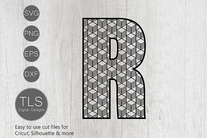 Geometric Pattern Letter R SVG, Letter R SVG Cut file