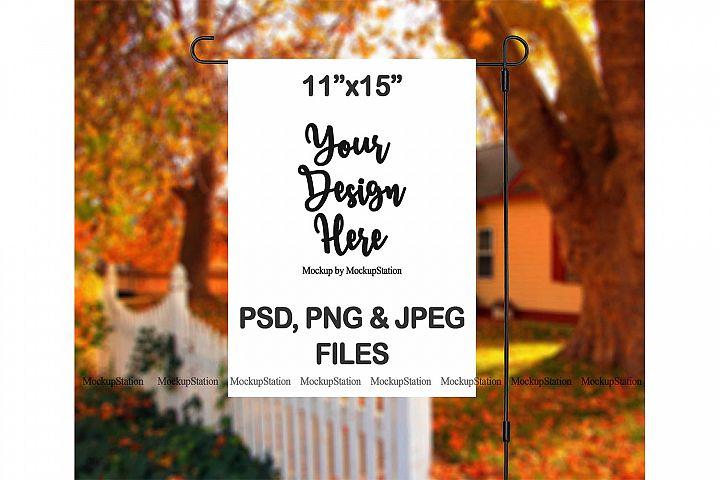 Fall Garden Flag Mockup PSD File, Autumn Flag Mock Up