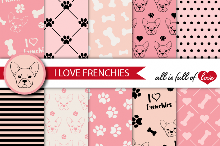 I Love Frenchies Digital Paper French Bulldog Background Patterns in Pink and Black