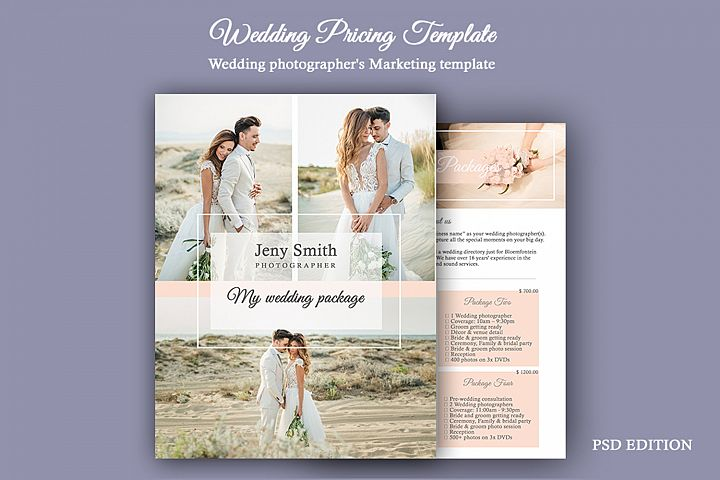 Wedding Pricing Template | Wedding PSD Photography Template