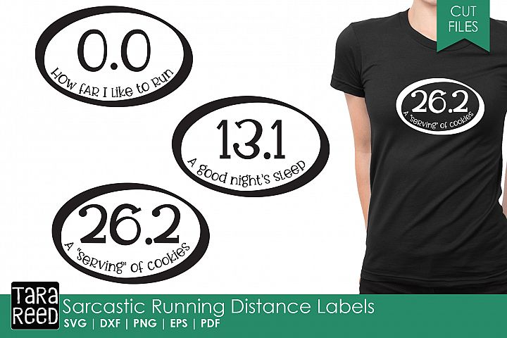 Sarcastic Running Distance Labels - SVG and Cut Files