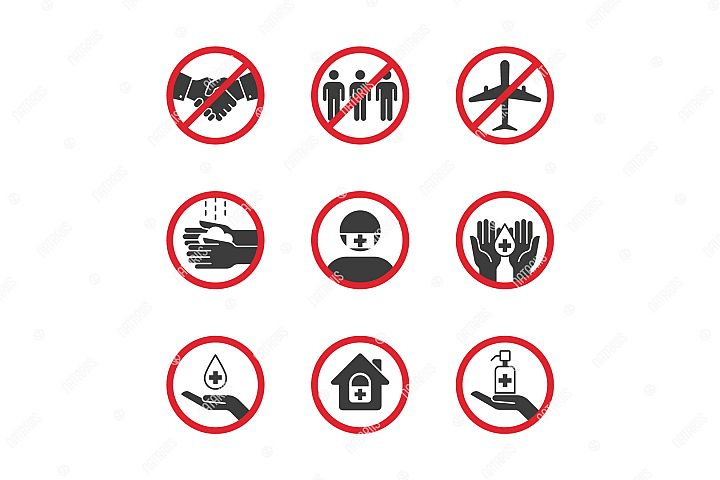 Set of medical remedies and virus prevention icons.