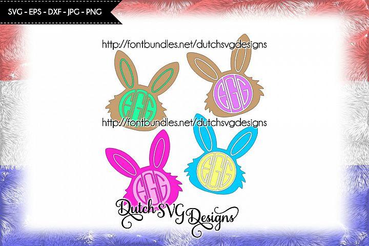 2 Easter bunny cut files, easter svg, monogram svg