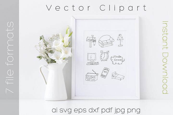 Furniture SVG Bundle Clipart Home Doodle Vector Cut Files
