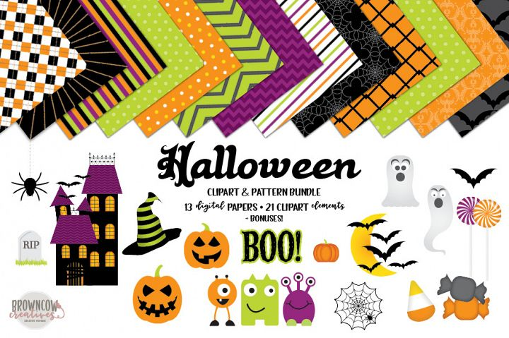 Halloween Clipart, Backgrounds, and Frames/Borders