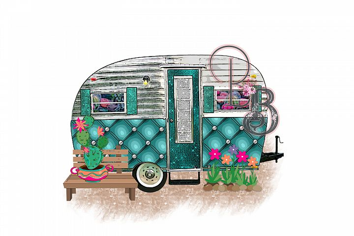 Vintage Travel Trailer Cactus Camping Png
