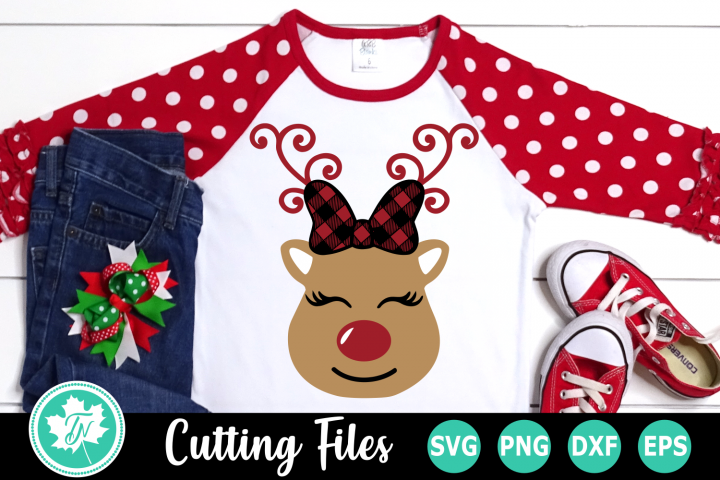 Reindeer with Bow - A Christmas SVG Cut File