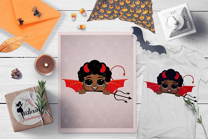 Halloween Afro Peeking Little Devil Boy Trident SVG Cut File