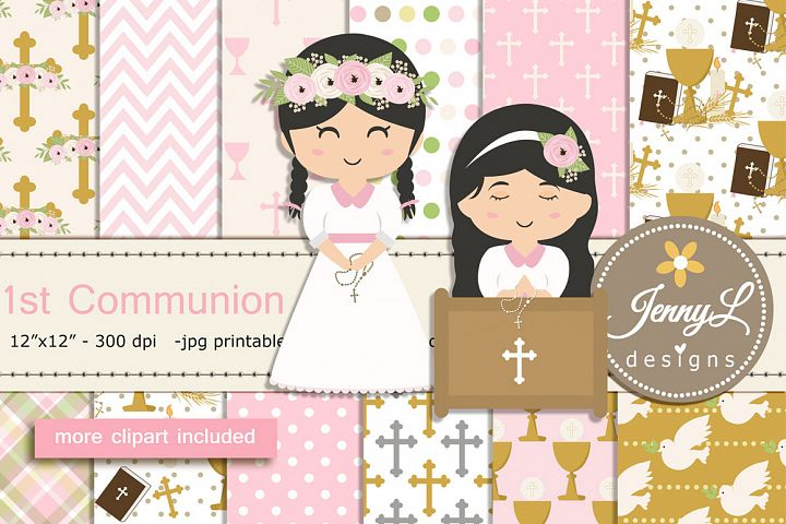 1st Communion Girl Confirmation Digital Papers and Bible Cli