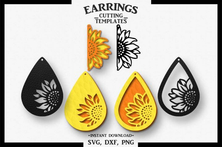 sunflower earring  silhouette cameo  cricut  cut svg dxf png