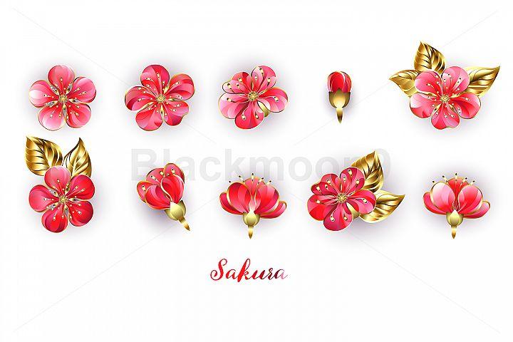 Set of Red Sakura Flowers