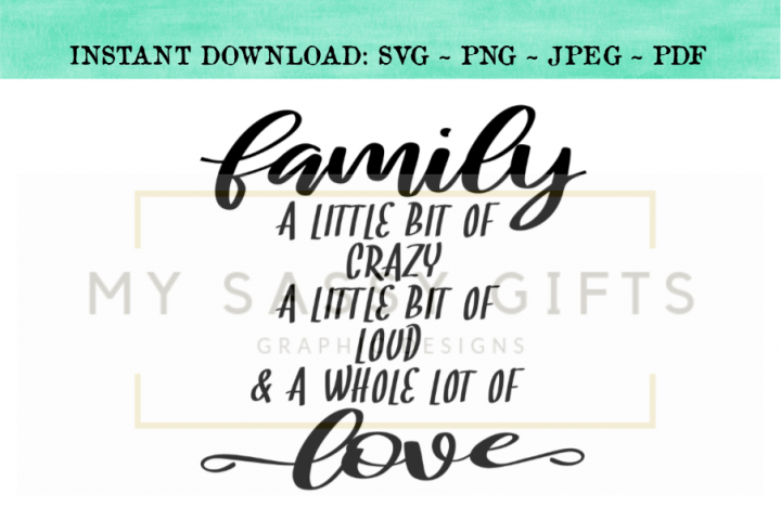 Family A Little Bit of Crazy A Little Bit of Loud SVG Design