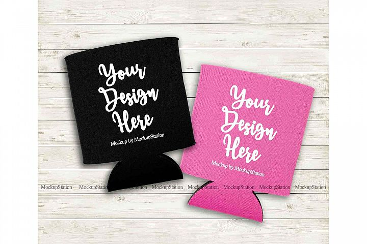 Double Can Coolers Mockup, Black Pink Can Holder Flat Lay
