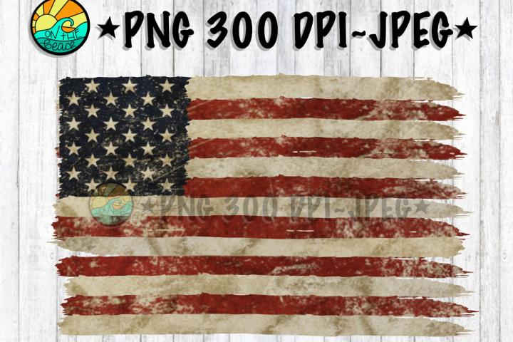 USA Flag - Vintage - Distressed - PNG 300 DPI - JPEG