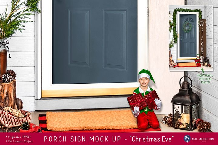 Porch Sign Christmas mock up - Christmas Eve