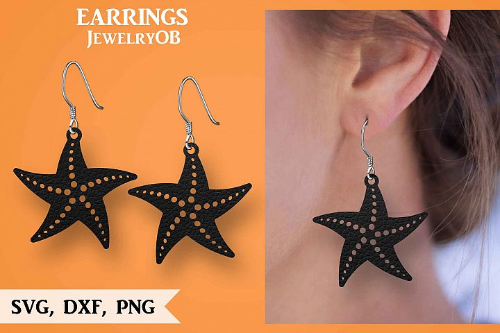 Starfish Earring, Silhouette Cameo, Cricut, Cut, SVG DXF PNG